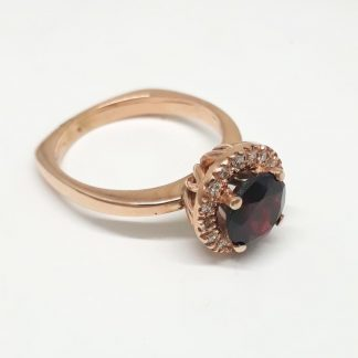 9ct Rose Gold Garnet Diamond Halo Ring - Goldfish Jewellery Design Studio