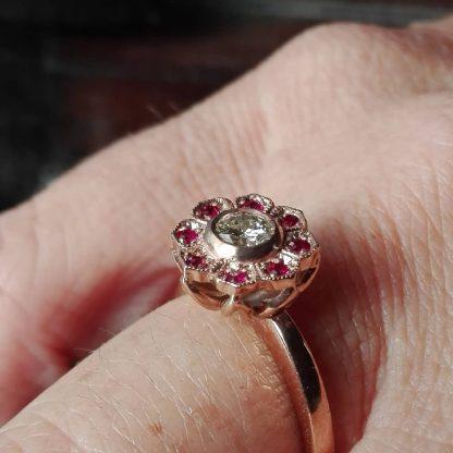 9ct Rose Gold Lotus Top Ruby Diamond Ring - Goldfish Jewellery Design Studio