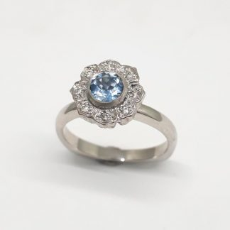 9ct White Gold Diamond Aquamarine Flower Ring - Goldfish Jewellery Design Studio