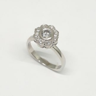 9ct White Gold Diamond Flower Ring - Goldfish Jewellery Design Studio