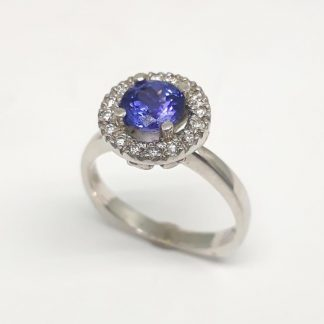 9ct White Gold Diamond Tanzanite Halo Ring - Goldfish Jewellery Design Studio