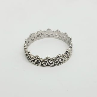 9ct White Gold Princess Crown Ring - Goldfish Jewellery Design Studio
