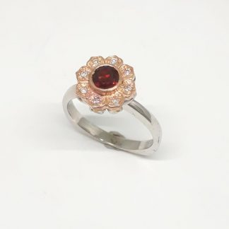 9ct White & Rose Gold Diamond Garnet Flower Ring - Goldfish Jewellery Design Studio