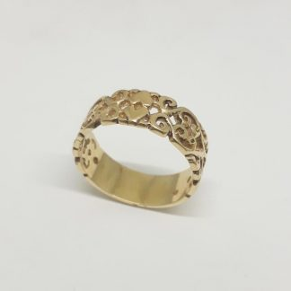 9ct Yellow Gold Double Heart Stack Ring - Goldfish Jewellery Design Studio