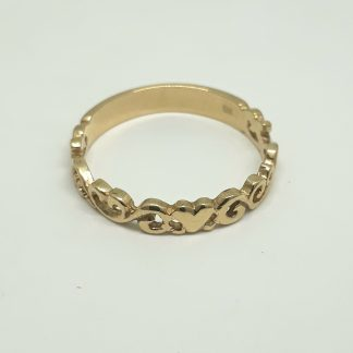 9ct Yellow Gold Filigree Heart Stack Ring - Goldfish Jewellery Design Studio