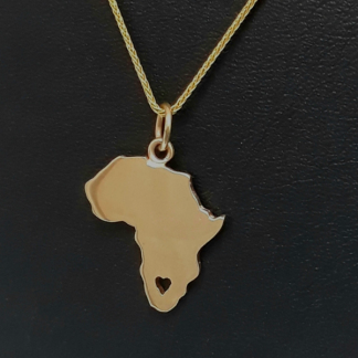 9ct Yellow Gold Large Africa Pendant (with cut-out heart) - Goldfish Jewellery Design Studio