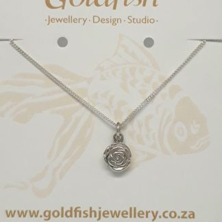 Sterling Silver 3D Rose Charm on Chain - Goldfish Jewellery Design Studio