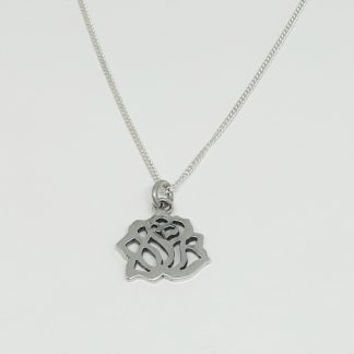 Sterling Silver Cut-out Rose Charm on Chain - Goldfish Jewellery Design Studio