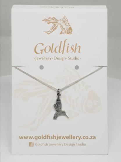 Sterling Silver Hummingbird Charm on Chain - Goldfish Jewellery Design Studio