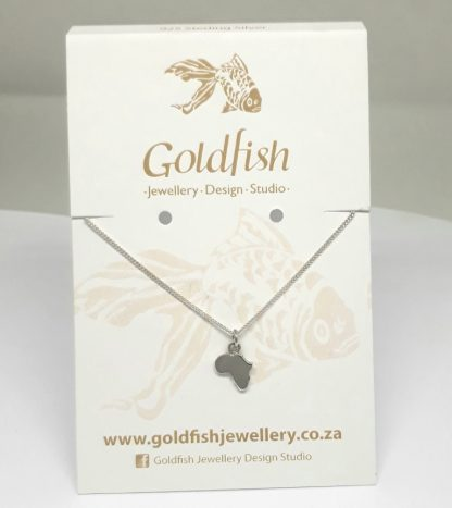 Sterling Silver Small Africa Charm on Chain - Goldfish Jewellery Design Studio