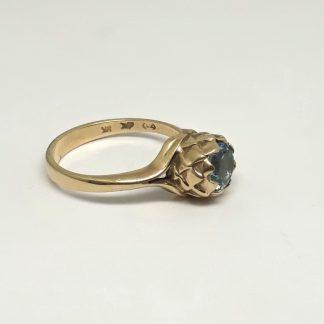 9ct Yellow Gold Small Protea Aquamarine Ring - Goldfish Jewellery Design Studio