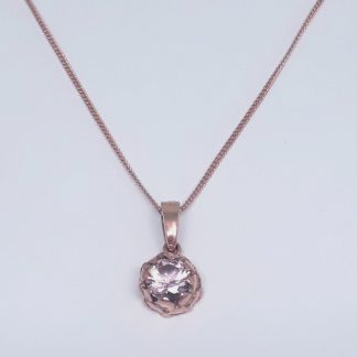 Rose Gold Plated Protea with Nano Morganite Charm on Chain - Goldfish Jewellery Design Studio