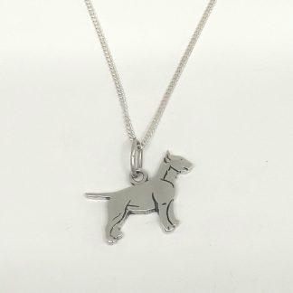 Sterling Silver Bull Terrier Charm on Chain - Goldfish Jewellery Design Studio