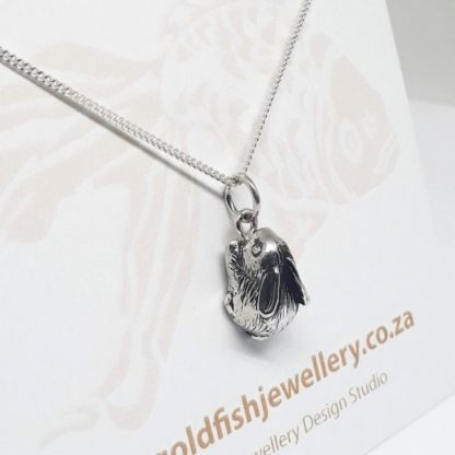 Sterling Silver Bunny Charm on Chain - Goldfish Jewellery Design Studio