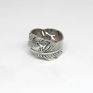 Sterling Silver Double Feather Ring - Goldfish Jewellery Design Studio
