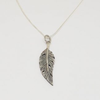 Sterling Silver Feather Charm on Chain - Goldfish Jewellery Design Studio