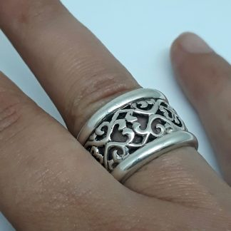 Sterling Silver Filigree Dome & Trims Ring - Goldfish Jewellery Design Studio