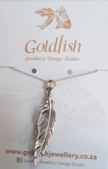 Sterling Silver Large Feather Pendant on Chain - Goldfish Jewellery Design Studio