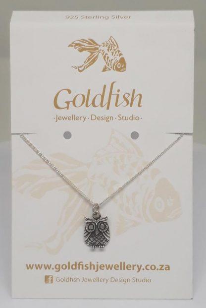Sterling Silver Owl Charm on Chain - Goldfish Jewellery Design Studio