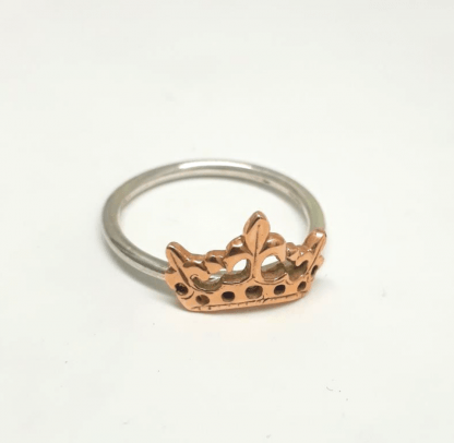 Mixed Metal Crown Stack Ring - Sterling Silver with 9ct Gold - Goldfish Jewellery Design Studio