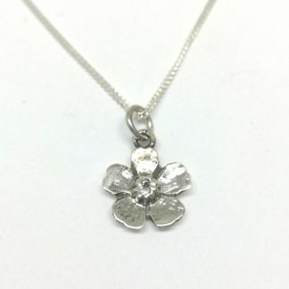 Sterling Silver Almond Flower Charm on Chain (45cm) - Goldfish Jewellery Design Studio