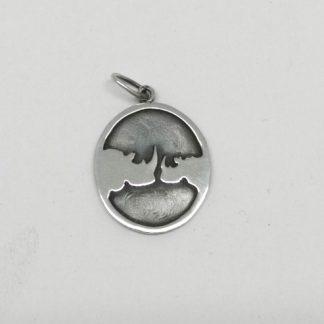 Sterling Silver Kissing Rhinos Pendant - Goldfish Jewellery Design Studio