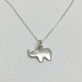 Sterling Silver Rhino Charm on Chain- Goldfish Jewellery Design Studio