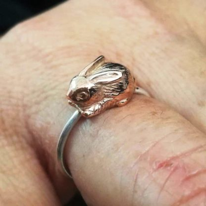 Sterling Silver with 9ct Gold Bunny Stack Ring - Goldfish Jewellery Design Studio