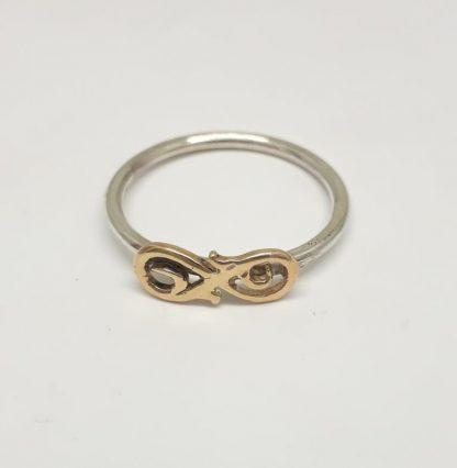 Sterling Silver with 9ct Gold Infinity Stack Ring - Goldfish Jewellery Design Studio