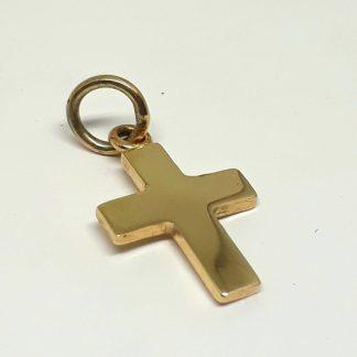 9ct Yellow Gold Cross Charm (medium) - Goldfish Jewellery Design Studio