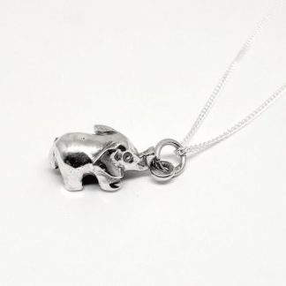 Sterling Silver 3D Elephant Charm on Chain - Goldfish Jewellery Design Studio