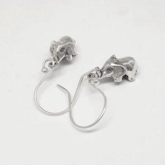 Sterling Silver 3D Elephant Earrings - Goldfish Jewellery Design Studio