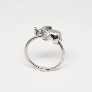 Sterling Silver 3D Elephant Stack Ring - Goldfish Jewellery Design Studio