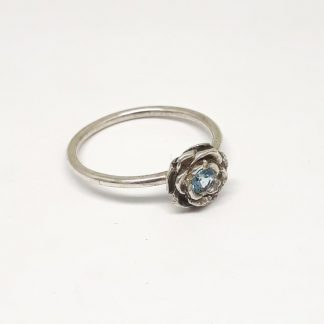 Sterling Silver 3D Rose with Blue Topaz Stack Ring - Goldfish Jewellery Design Studio