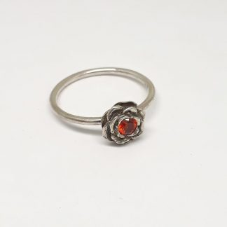 Sterling Silver 3D Rose with Cubic Zirconia Stack Ring (garnet CZ) - Goldfish Jewellery Design Studio