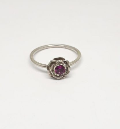 Sterling Silver 3D Rose with Synthetic Alexandrite Stack Ring - Goldfish Jewellery Design Studio