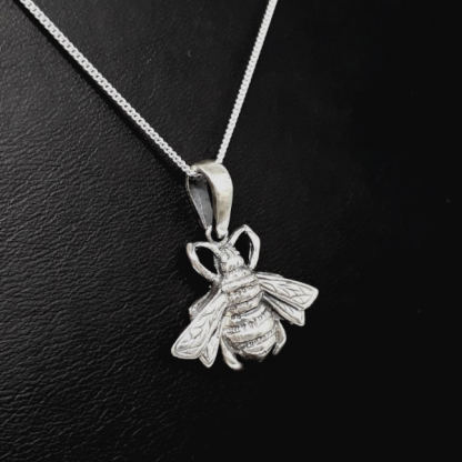 Sterling Silver Big Bee Pendant - Bee Jewelry by Goldfish Jewellery Design Studio
