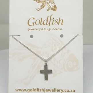 Sterling Silver Cross Charm on Chain - Goldfish Jewellery Design Studio