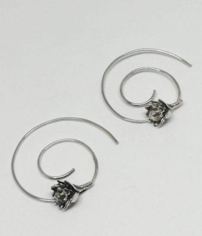 Sterling Silver Protea Spiral Earrings - Goldfish Jewellery Design Studio