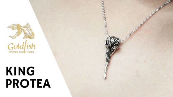 King Protea Pendant - Goldfish Jewellery Design Studio