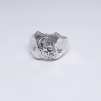 Sterling Silver Anatomical Heart Shield Ring - Goldfish Jewellery Design Studio