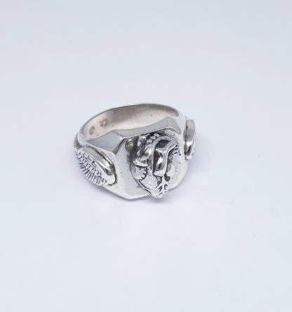 Sterling Silver Anatomical Heart with Wings Signet Ring - Goldfish Jewellery Design Studio
