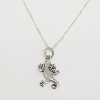 Sterling Silver Gecko Charm on Chain - Goldfish Jewellery Design Studio