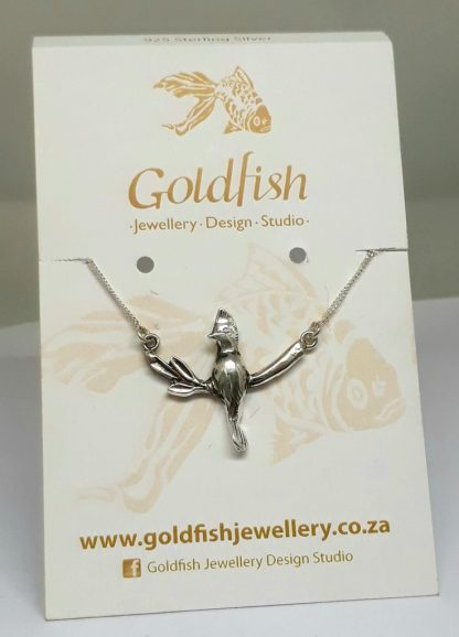 Sterling Silver Knysna Loerie on Branch Neckpiece - Goldfish Jewellery Design Studio
