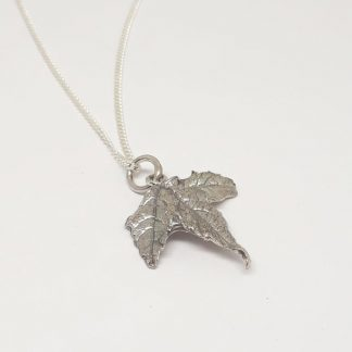 Sterling Silver Maple Leaf Charm on Chain - Goldfish Jewellery Design Studio
