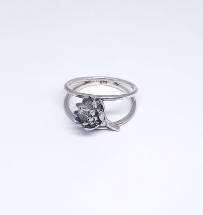 Sterling Silver Small Protea Double Band Ring - Goldfish Jewellery Design Studio