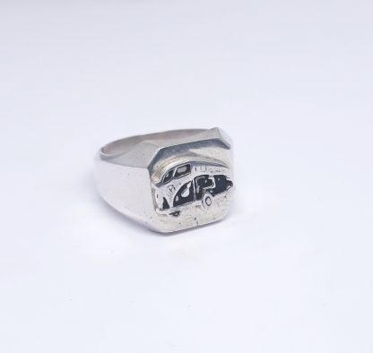 Sterling Silver VW Combi Square Signet Ring - Goldfish Jewellery Design Studio