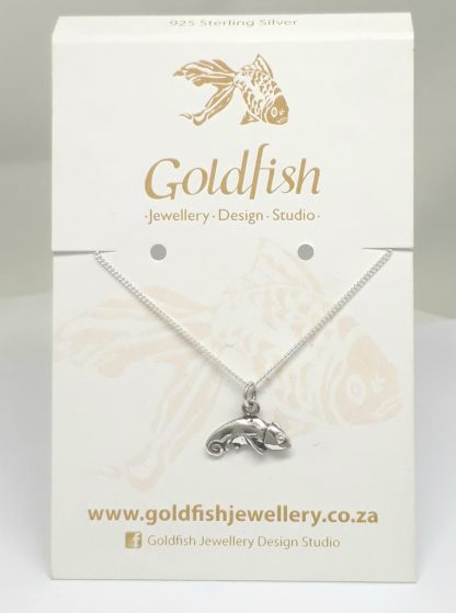 Sterling Silver Chameleon Charm on Chain - Goldfish Jewellery Design Studio