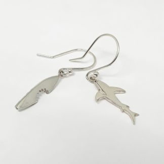 Sterling Silver Shark and Bite Odd Pair Earrings - Goldfish Jewellery Design Studio
