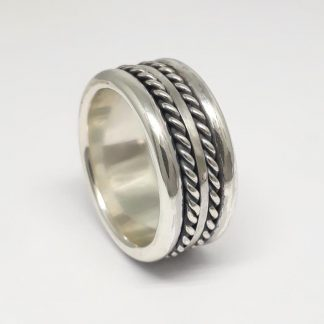 Sterling Silver Double Twisted Band Mens Ring - Goldfish Jewellery Design Studio